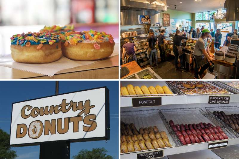 (clockwise from top left) Kolache Bar, Pip's Original Donuts & Chai, Country Donuts (2)