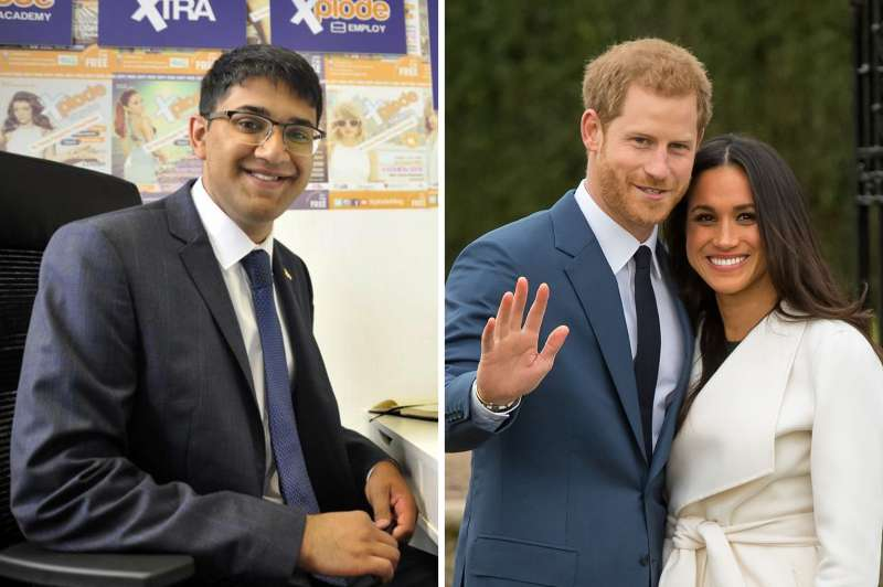 (left) Saeed Atcha; (right) Prince Harry and Meghan Markle in the Sunken Garden at Kensington Palace, London, after the announcement of their engagement.