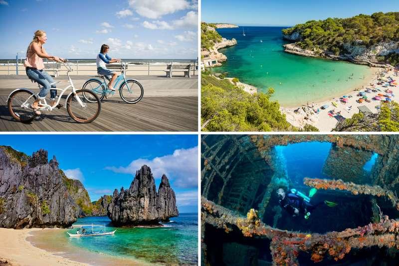 (clockwise from top left) Asbury Park, New Jersey; Mallorca, Spain; Pompano Beach, Florida; El Nino, Philippines