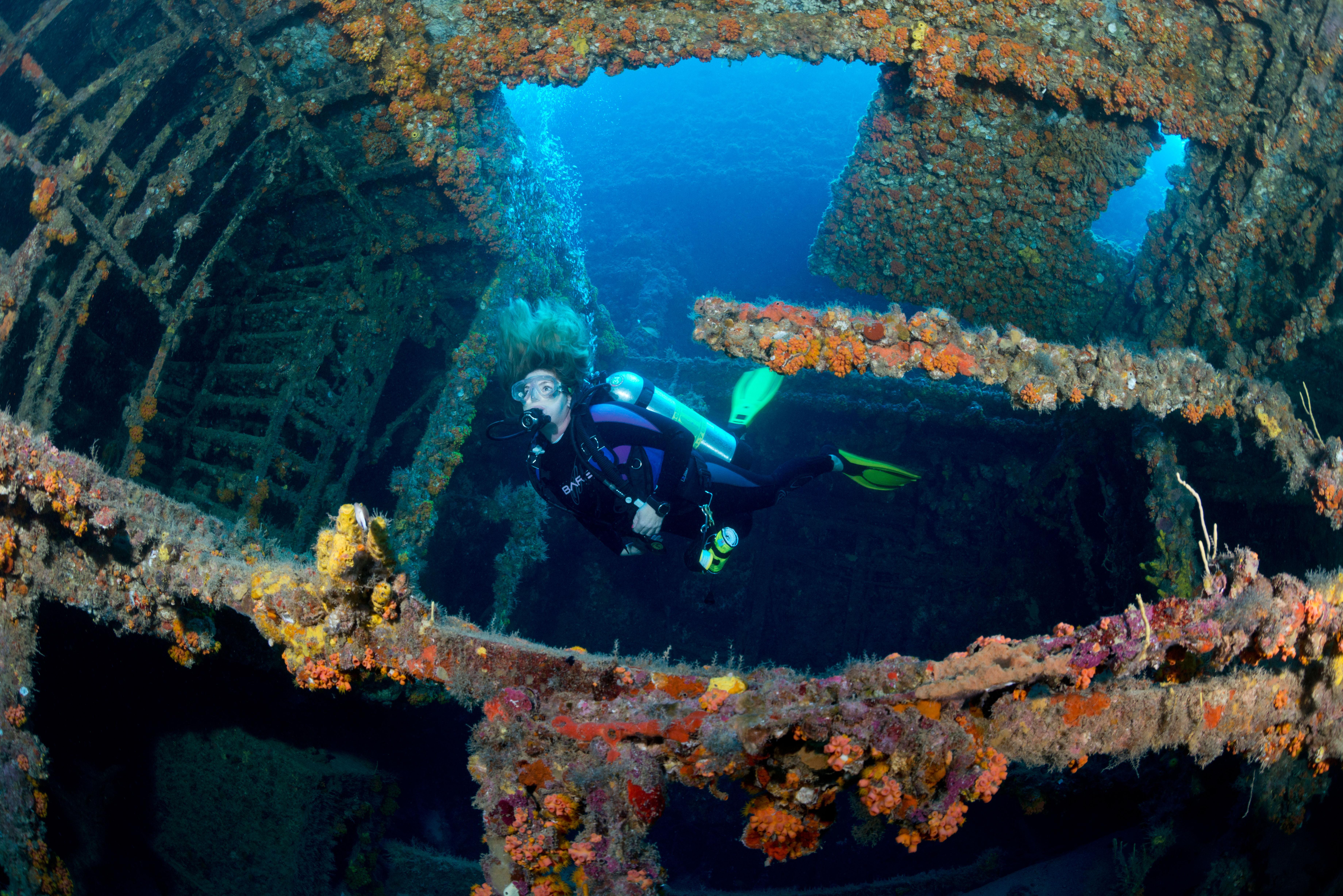 A female scuba diver penetrates a wreck near the coast of Pompano Beach, Florida