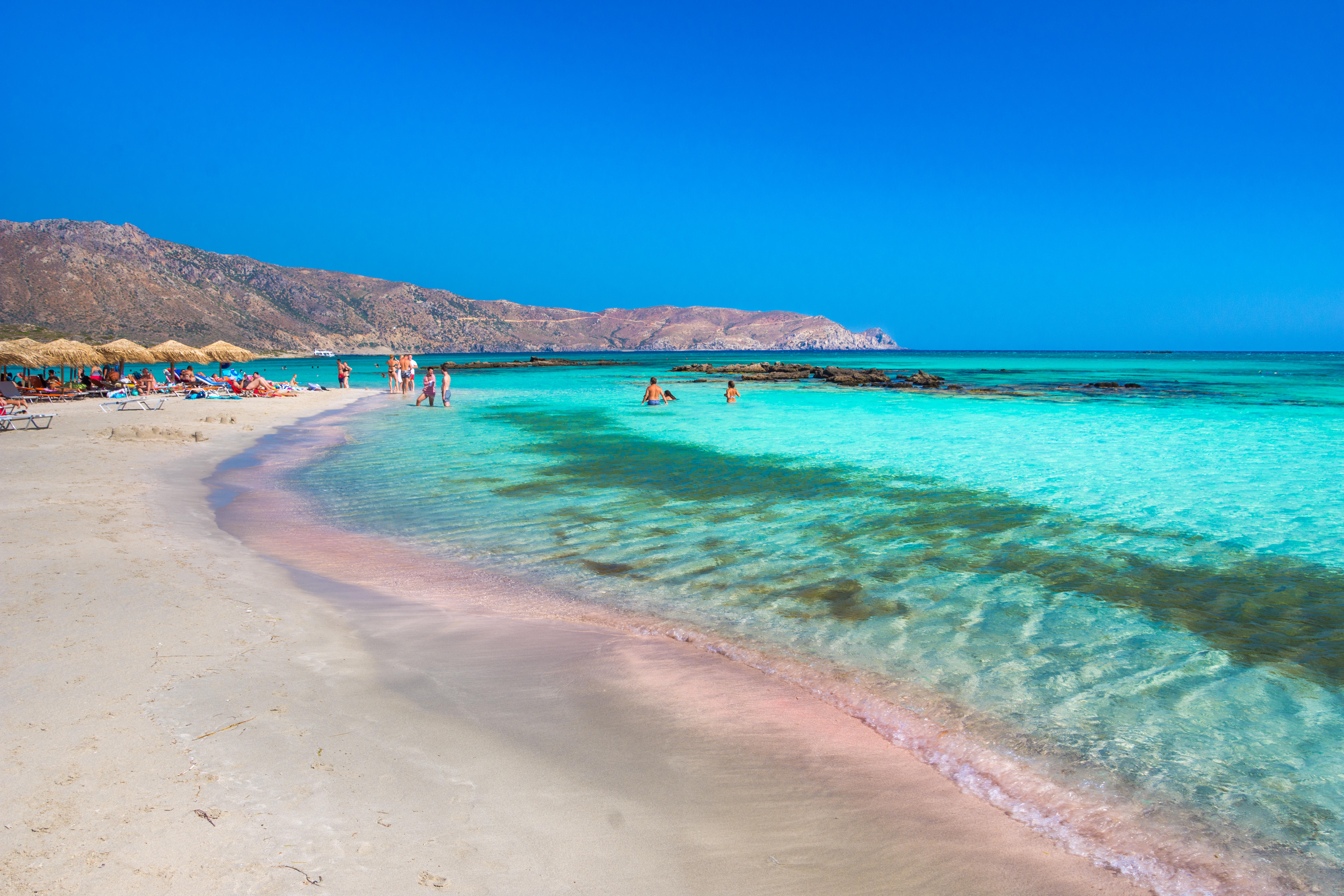 Tropical sandy beach with turquoise water, in Elafonisi, Crete