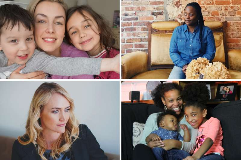 (clockwise from top left) Amanda Muse with Jack and Esmé; LaShawn Wiltz; Brandi Riley with James and Ayva; Heather Armstrong