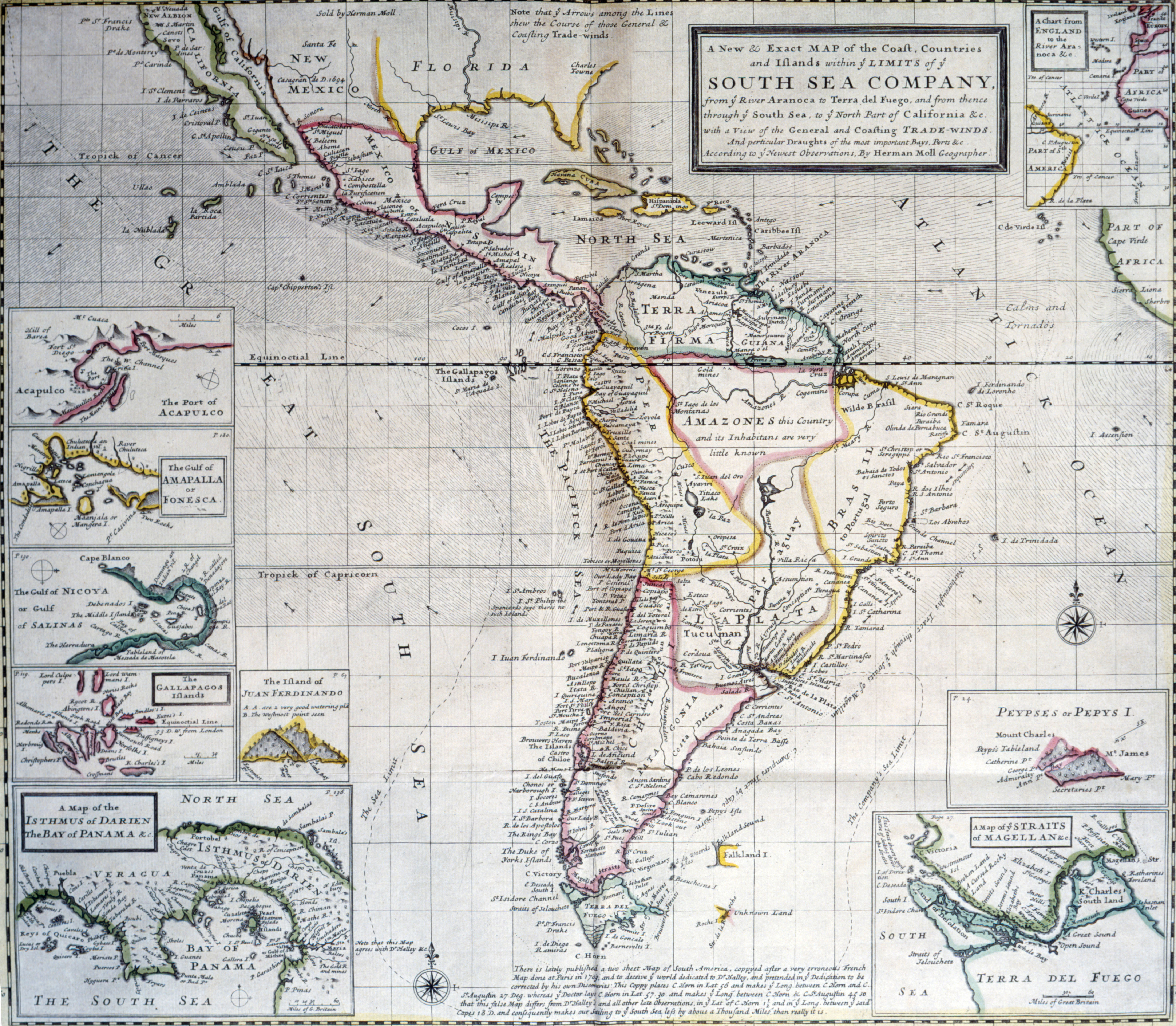 Limits of the South Sea Company by Herman Moll from In His the World Described, USA, Chicago, Newberry Library