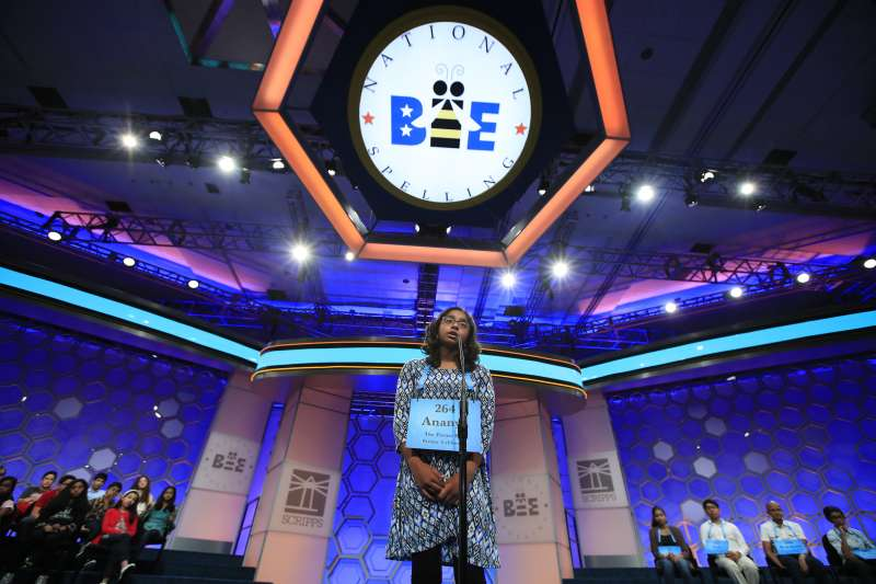 Ananya Vinay, 12, from Fresno, Calif., spells her word during the finals of the 90th Scripps National Spelling Bee, in Oxon Hill, Md, June 1, 2017.