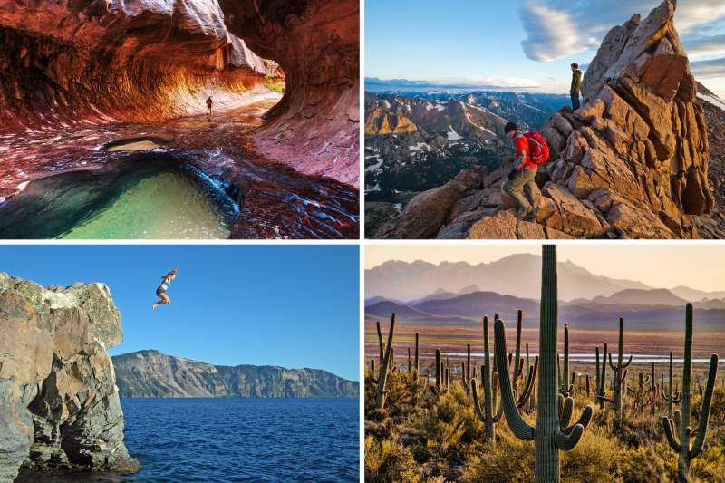(clockwise from top left) Zion National Park, Rocky Mountain National Park, Saguaro National Park, Crater Lake National Park