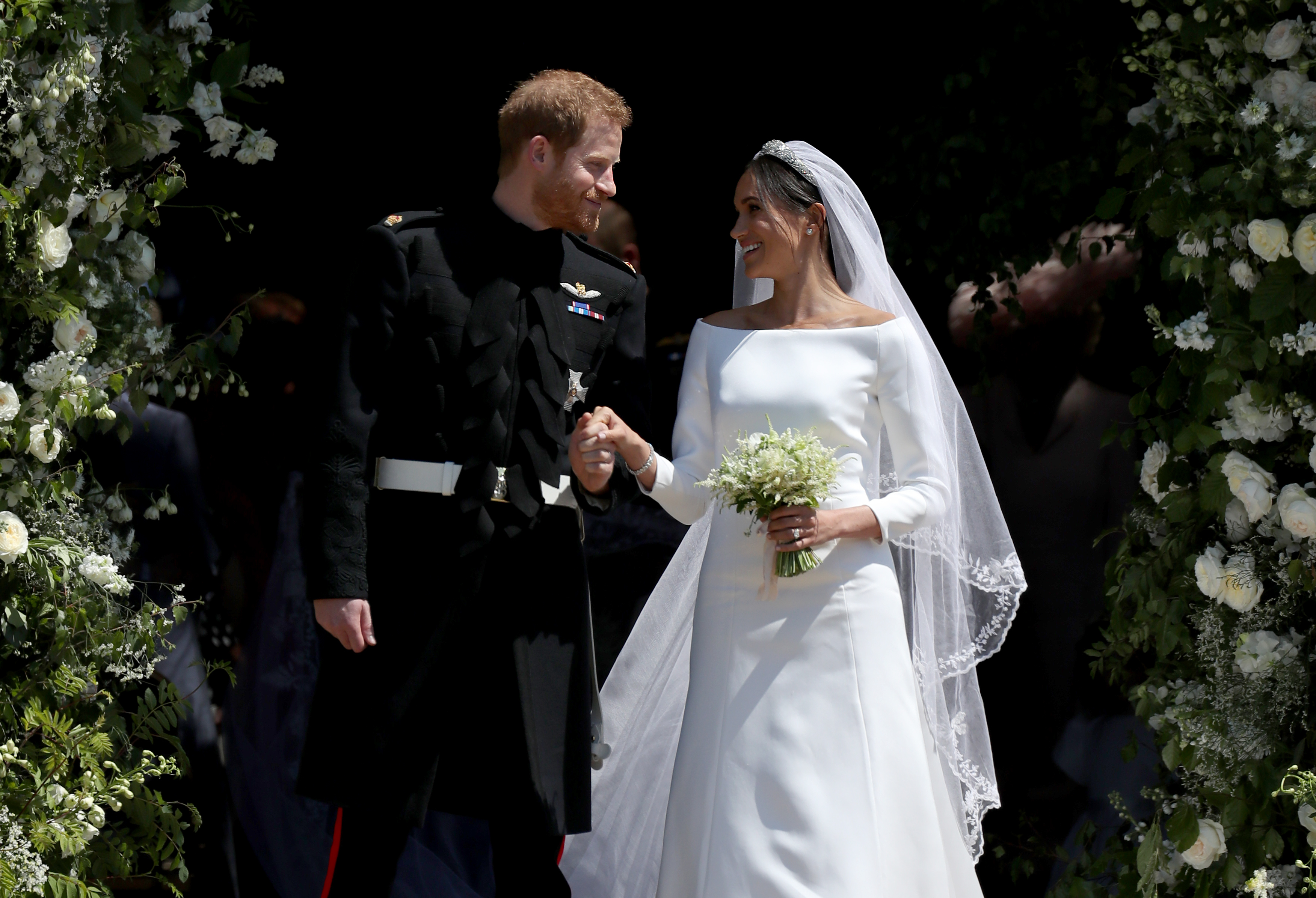 Royal wedding prince harry meghan markle leaving the chapel