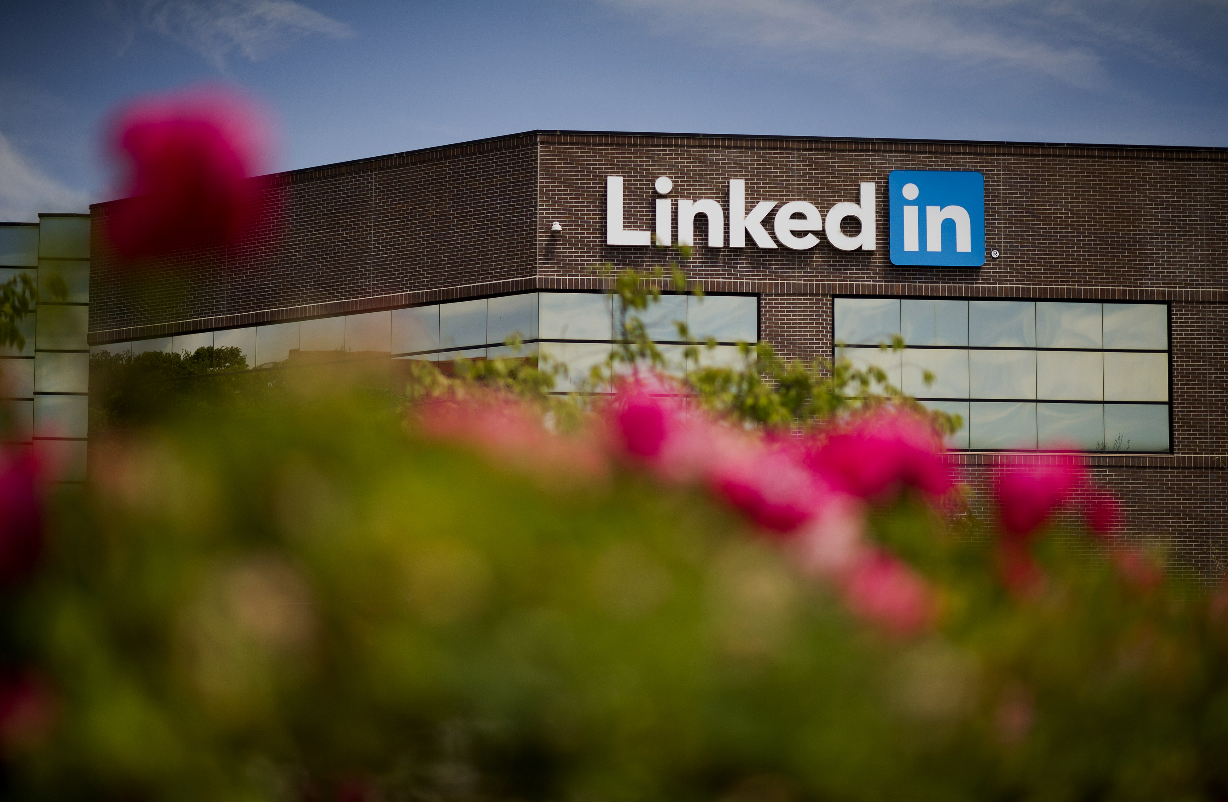 Flowers stand in front of LinkedIn Corp. headquarters in Mountain View, California, U.S., on Monday, July 28, 2014.