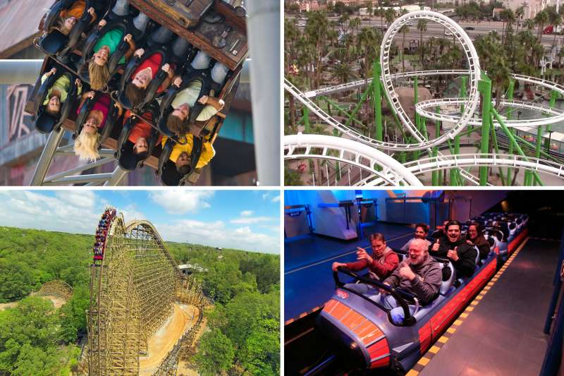 (clockwise from top left) Dollywood Mystery Mine, Castles N' Coasters Desert Storm, Disneyland Hyperspace Mountain, Silver Dollar City Outlaw Run