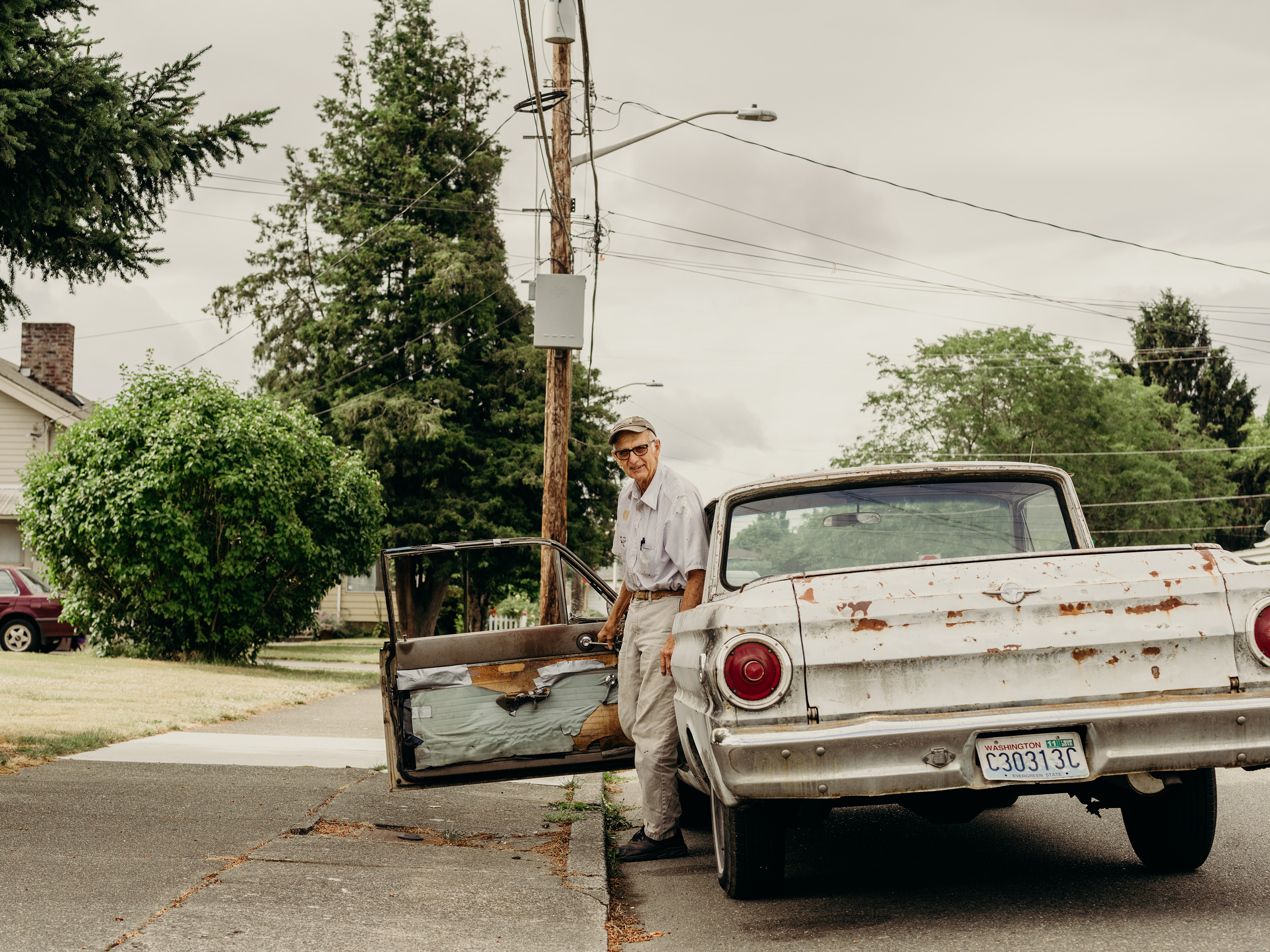 "Wilbur Repp with his 1964 pickup ""Kreampuff."""