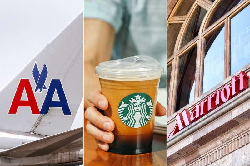American Airlines, Starbucks, Marriott hotel