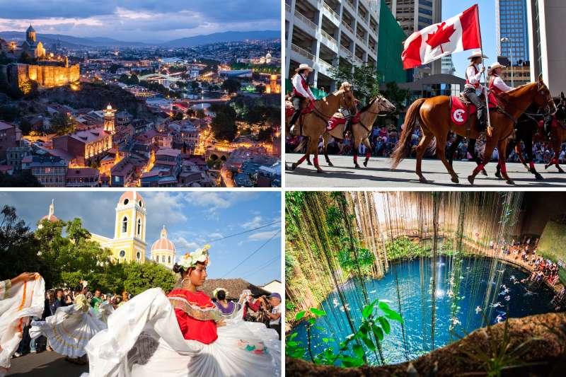 (Clockwise from top left) Tbilisi, Calgary, Merida, Granada