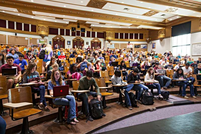 Students settle in for a class at Texas A&M University.
