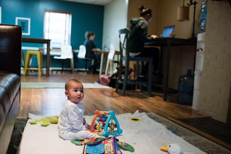 Play, Work or Dash, LLC in Vienna, Virginia is a work space that also offers child care. Two new coworking spaces that will also offer onsite child care are set to open in the next several months in Washington DC.