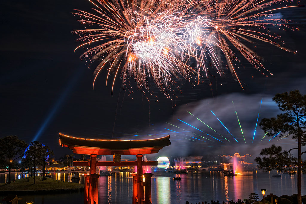 The IllumiNations Reflections Of Earth Laser and Fireworks show at Epcot Center in Walt Disney World