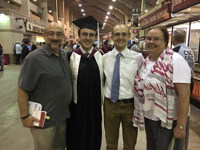 Bob (from left), Robert, Sam, and Marilyn Bellafiore at Robert's May 2018 graduation from the University of Oklahoma.