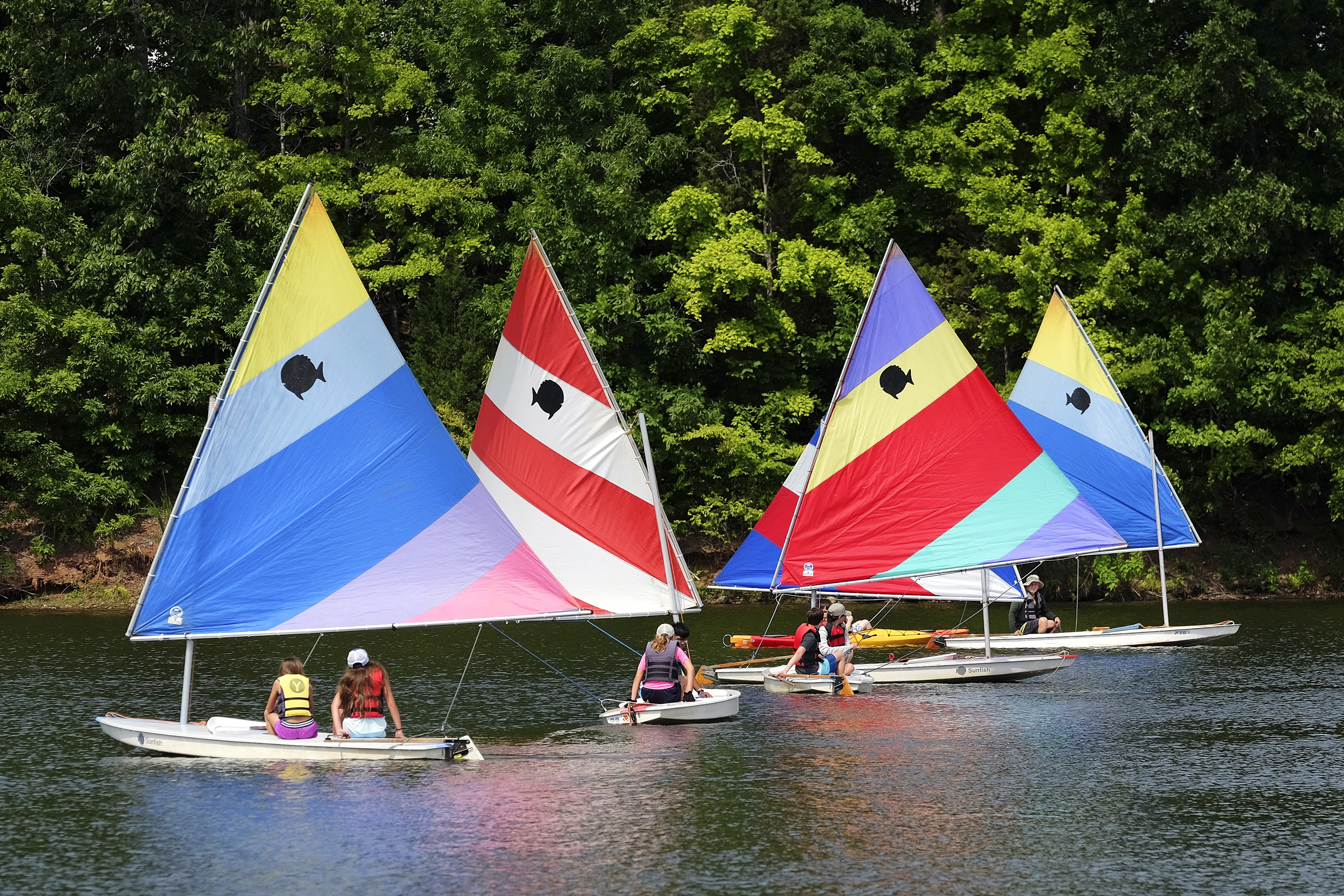 Sailboats are available for rent at Bond Park in Cary, N.C.