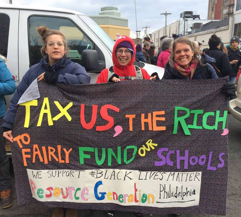 Kate Poole protesting