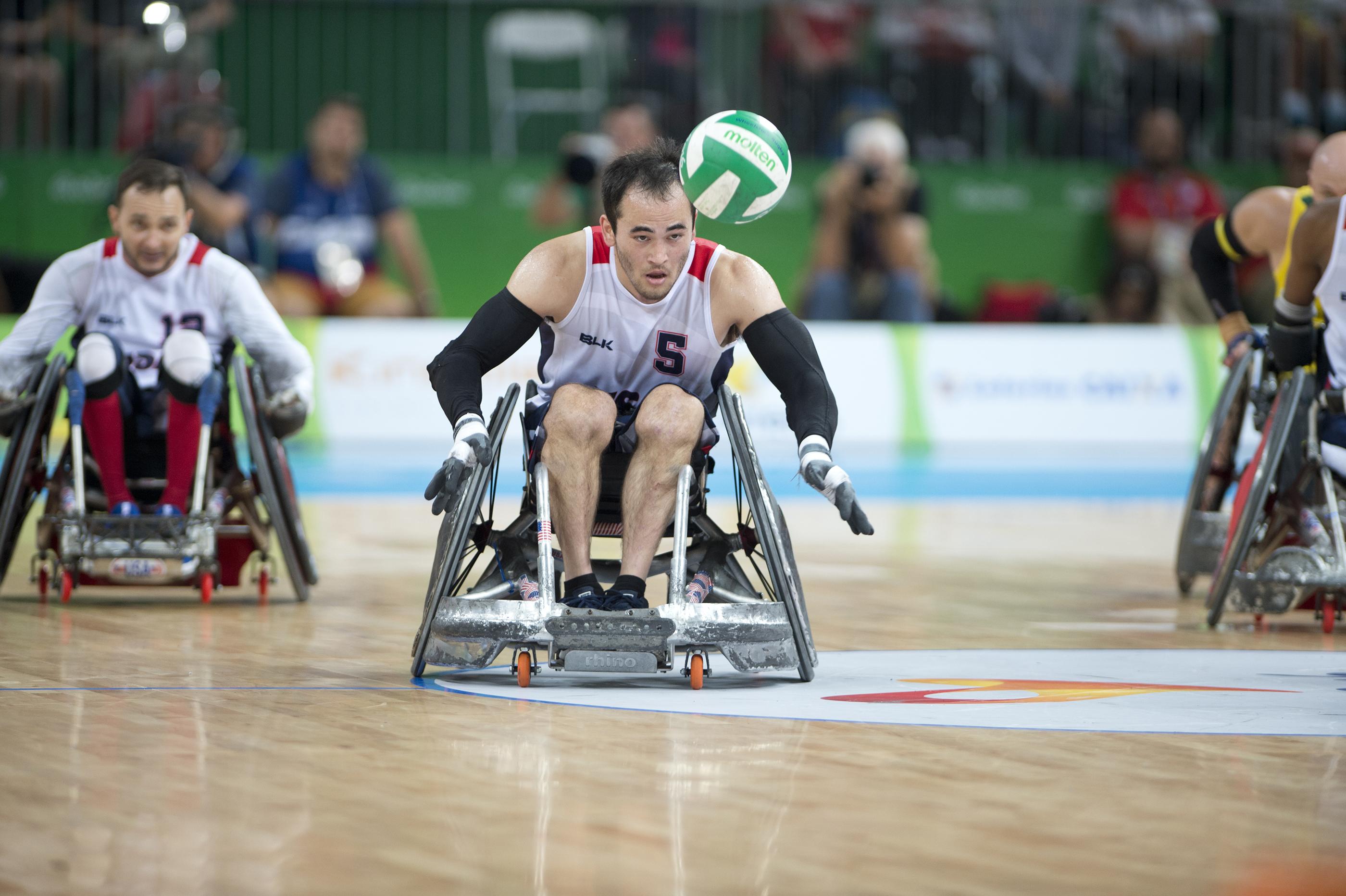 Chuck Aoki, USA, during gold medal game, Wheelchair Rugby, Sept. 18, 2016, Rio 2016 Paralympics, Rio de Janeiro.
