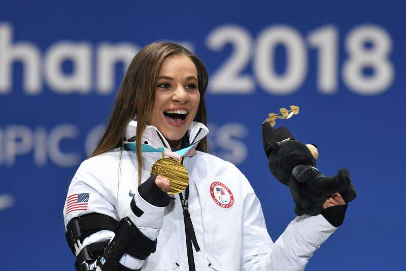 Oksana Masters (US), winner of the gold medal in the women's sitting 5km cross-country ski event, during the medal ceremony at the XII Winter Paralympics in PyeongChang.