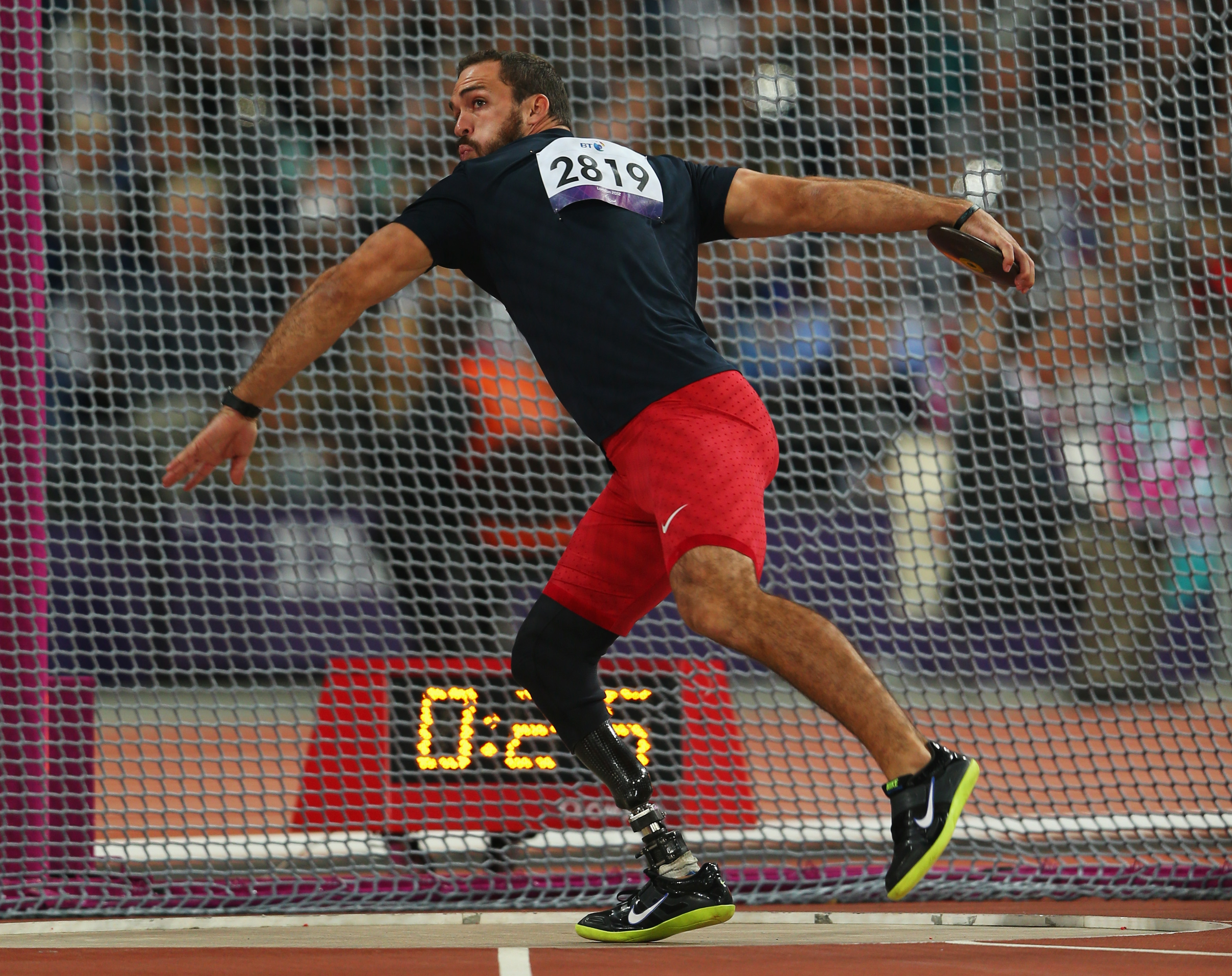 Jeremy Campbell of the United States competes in the Men's Discus Throw - F44 Final on day 8 of the London 2012 Paralympic Games at Olympic Stadium on September 6, 2012 in London, England.