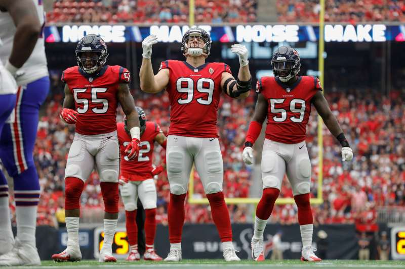 J.J. Watt #99 of the Houston Texans gets the crowd to make noise in the fourth quarter against the Buffalo Bills at NRG Stadium on October 14, 2018 in Houston, Texas.