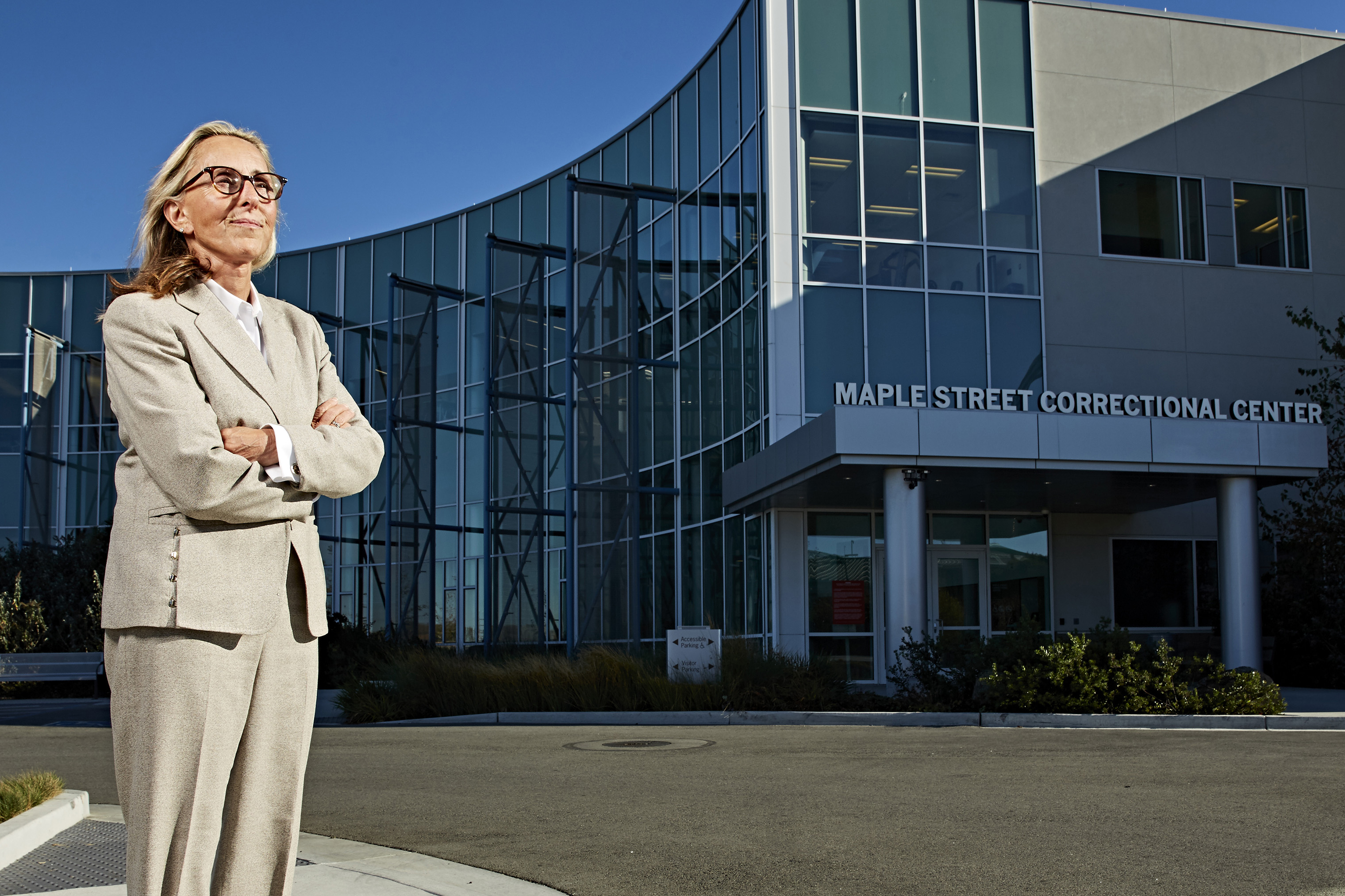 Criminal defense attorney, Paula Canny, photographed on October 29th, 2018 oustide the Maple Street Correctional Center in Redwood City, California. Paula believes women should have the right to access tampons in all the county jails for free and is suing all of the California Jails who will not grant women free access to tampons.