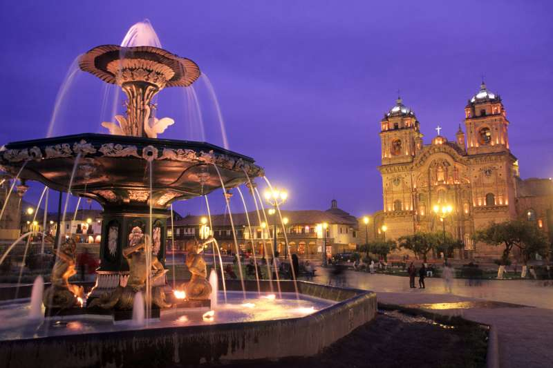 The famous Cathedral Basilica in the town square; Cuzco, Peru.