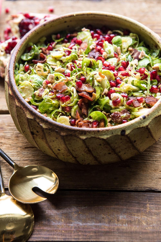 Shredded Brussels Sprout Bacon Salad with Warm Cider Vinaigrette