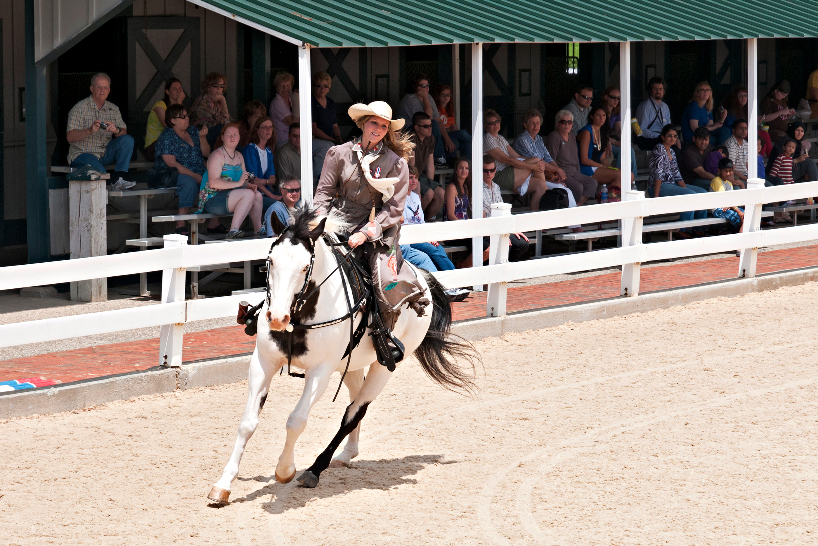 A professional rider performs at the Kentucky Horse Park.