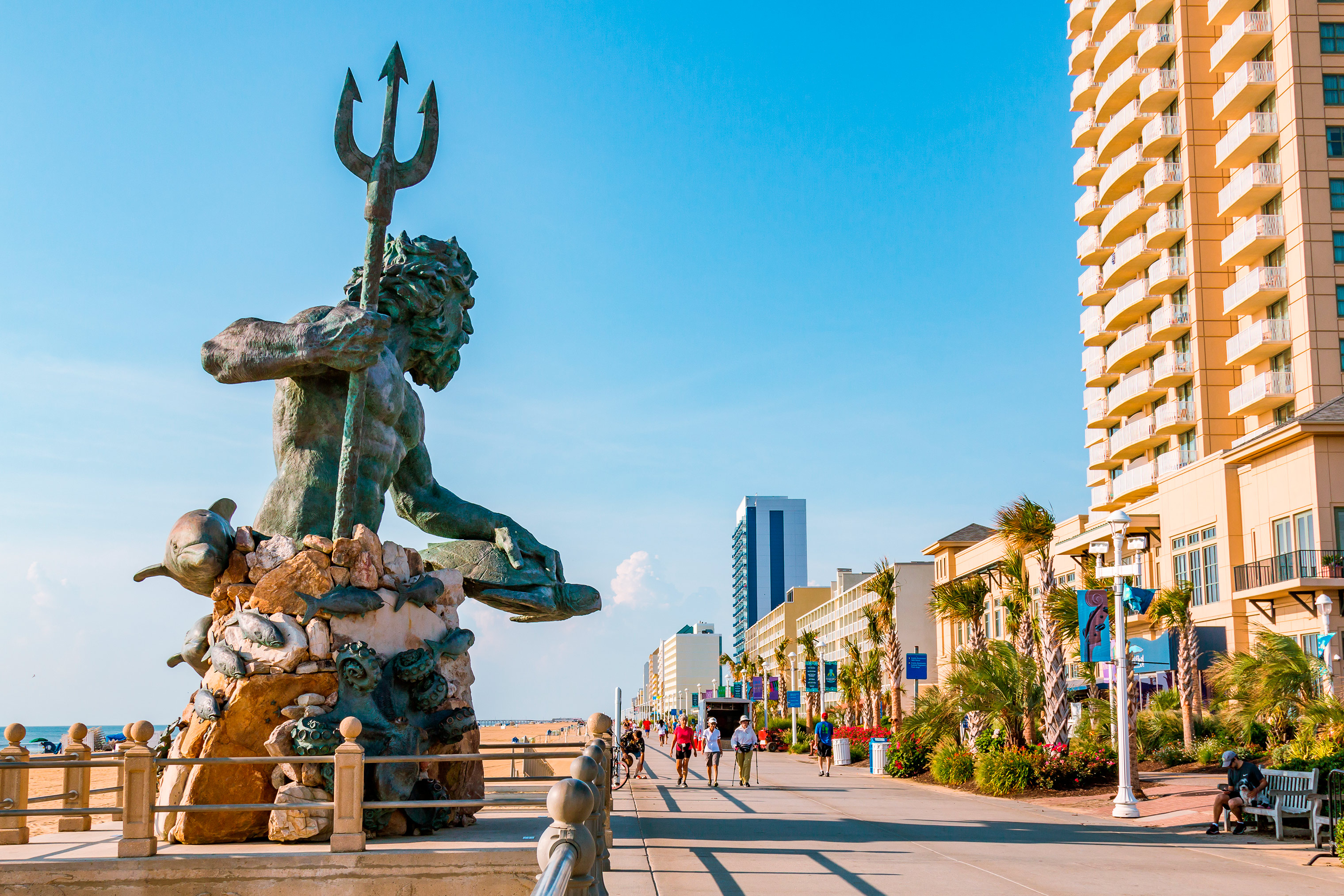 The iconic King Neptune greets visitors on a boardwalk three miles long.