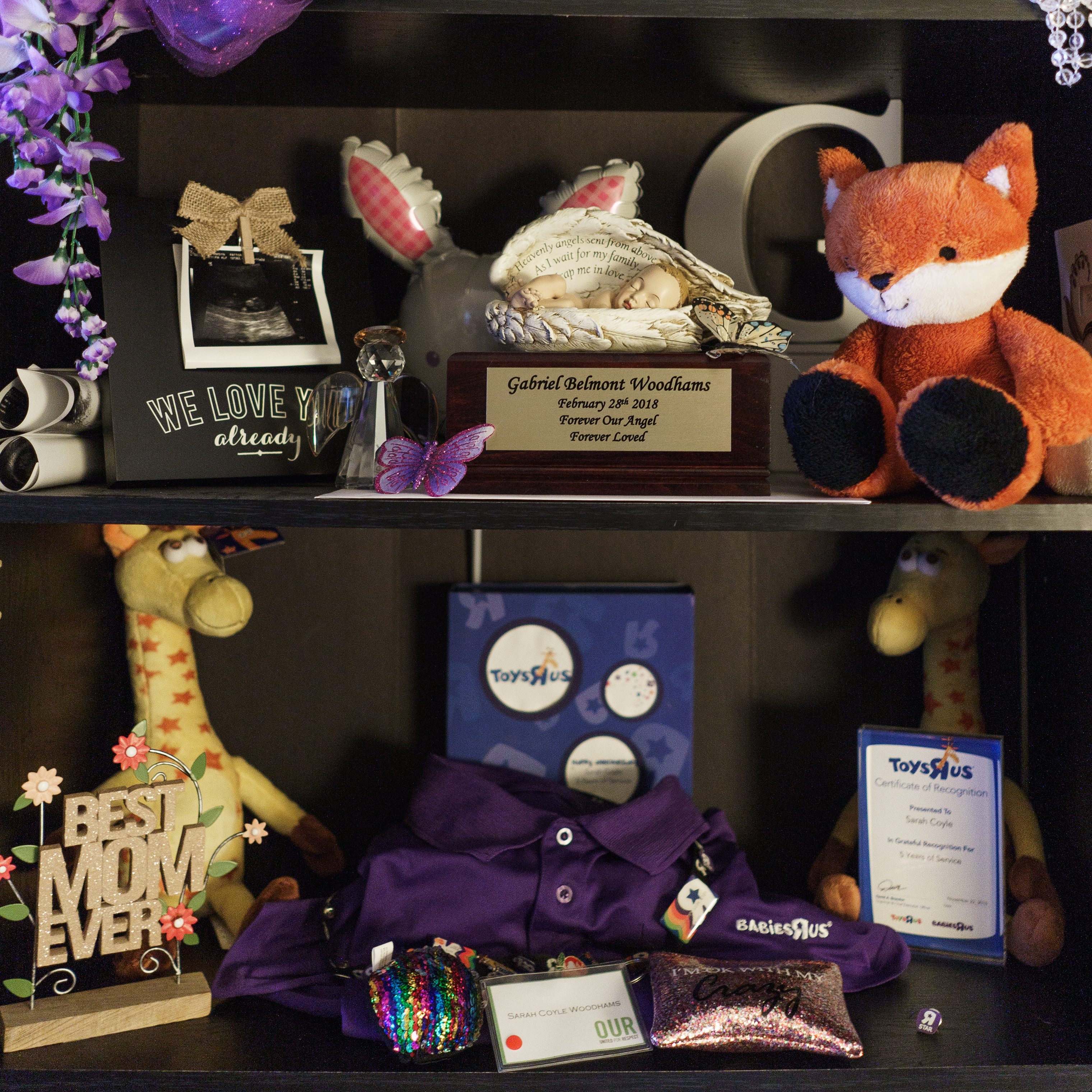 A memorial to Sarah Woodhams' son, Gabriel, who was stillborn, sits on the shelf at her home in Harleysville, Pa.