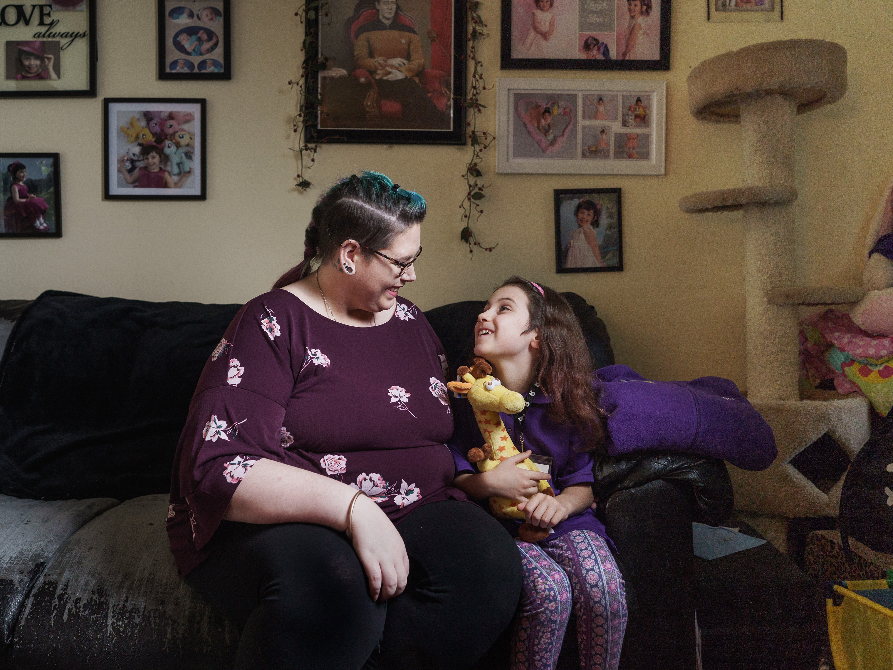 Sarah Woodhams with her 7-year-old daughter, Tabitha Coyle, at their home in Harleysville, Pa.