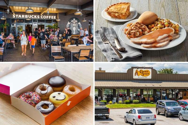 (clockwise from top left) Starbucks, Boston Market, Cracker Barrel, Dunkin Donuts