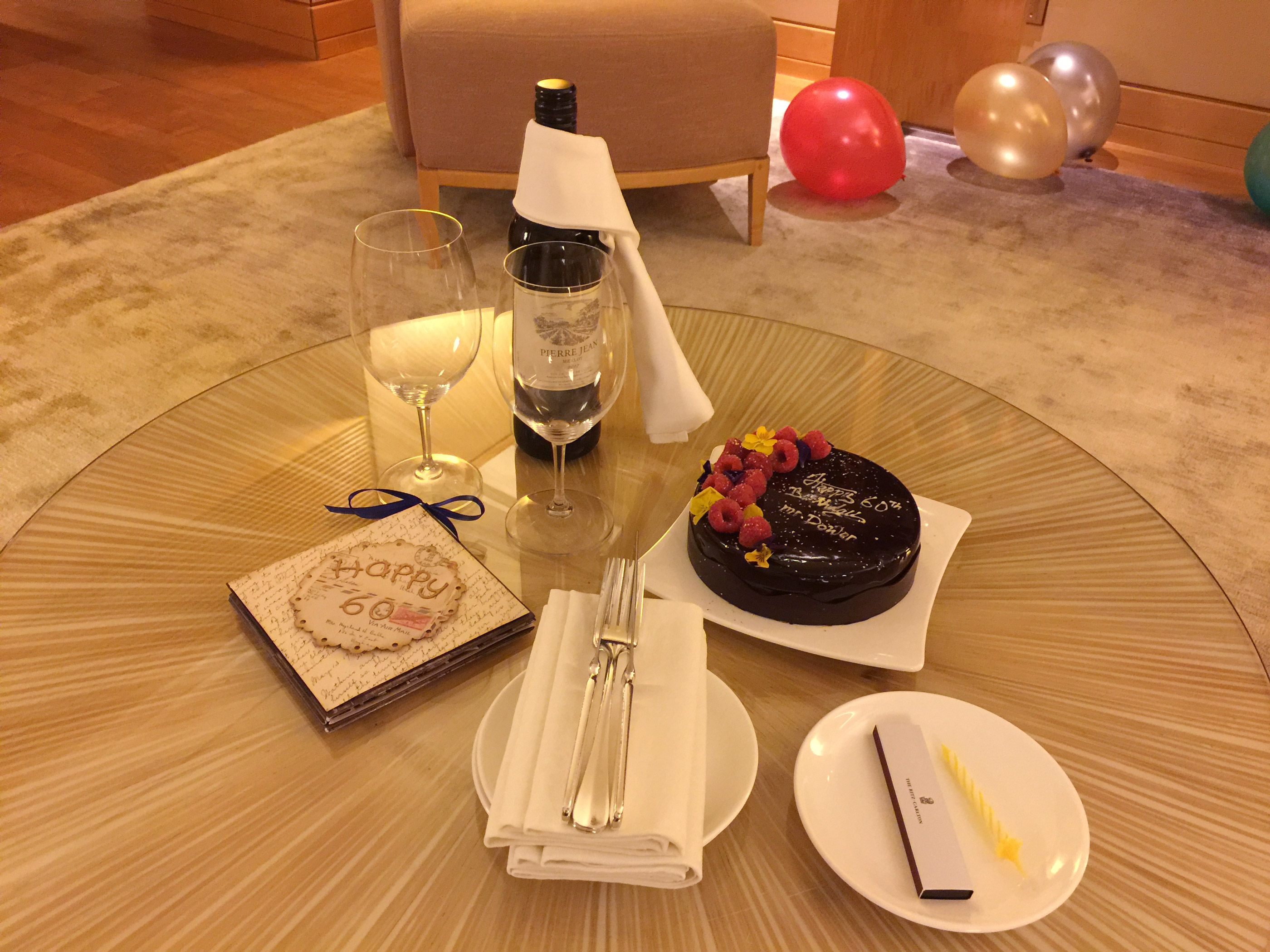 Welcome gift at the Ritz Carlton Singapore