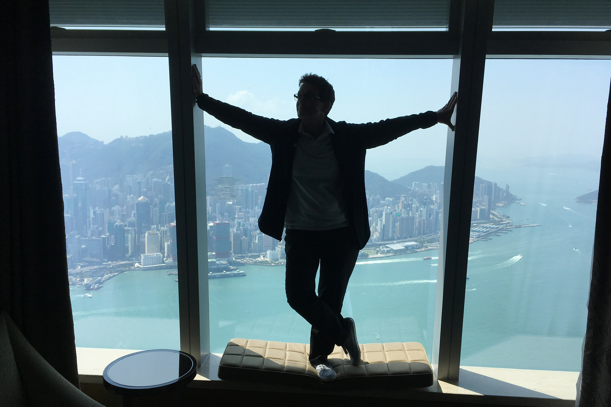 The view from Dona Dower's upgraded room at the Ritz Carlton Hong Kong