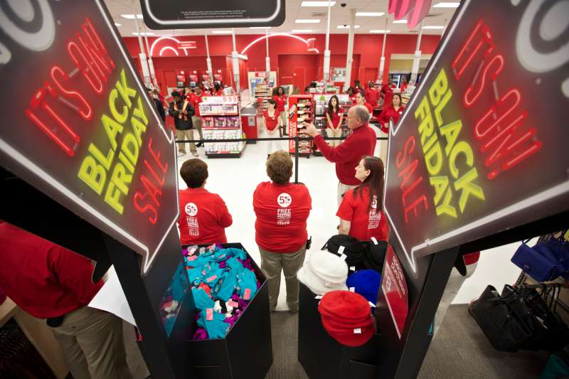 Target workers meet before a recent Black Friday in Chicago.