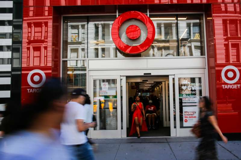 People enter Target branch store at middle Manhattan on May 21, 2018 in New York, New York.