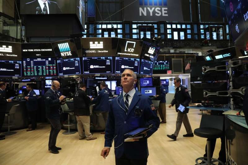Traders work on the floor of the New York Stock Exchange (NYSE) on December 03, 2018 in New York City.