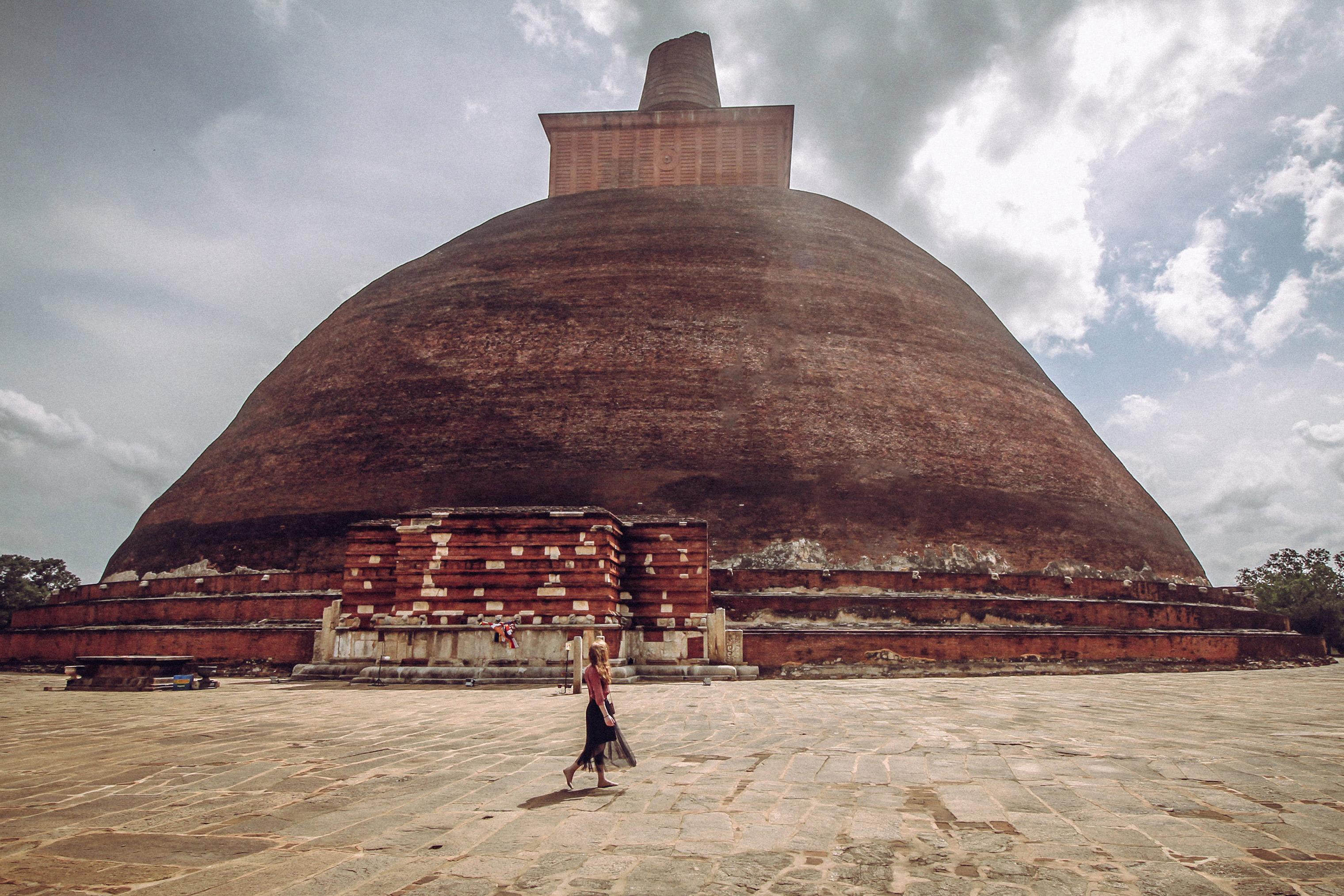 Rose Trafford walks the circumference of the Anuradhapura monastery in Sri Lanka.