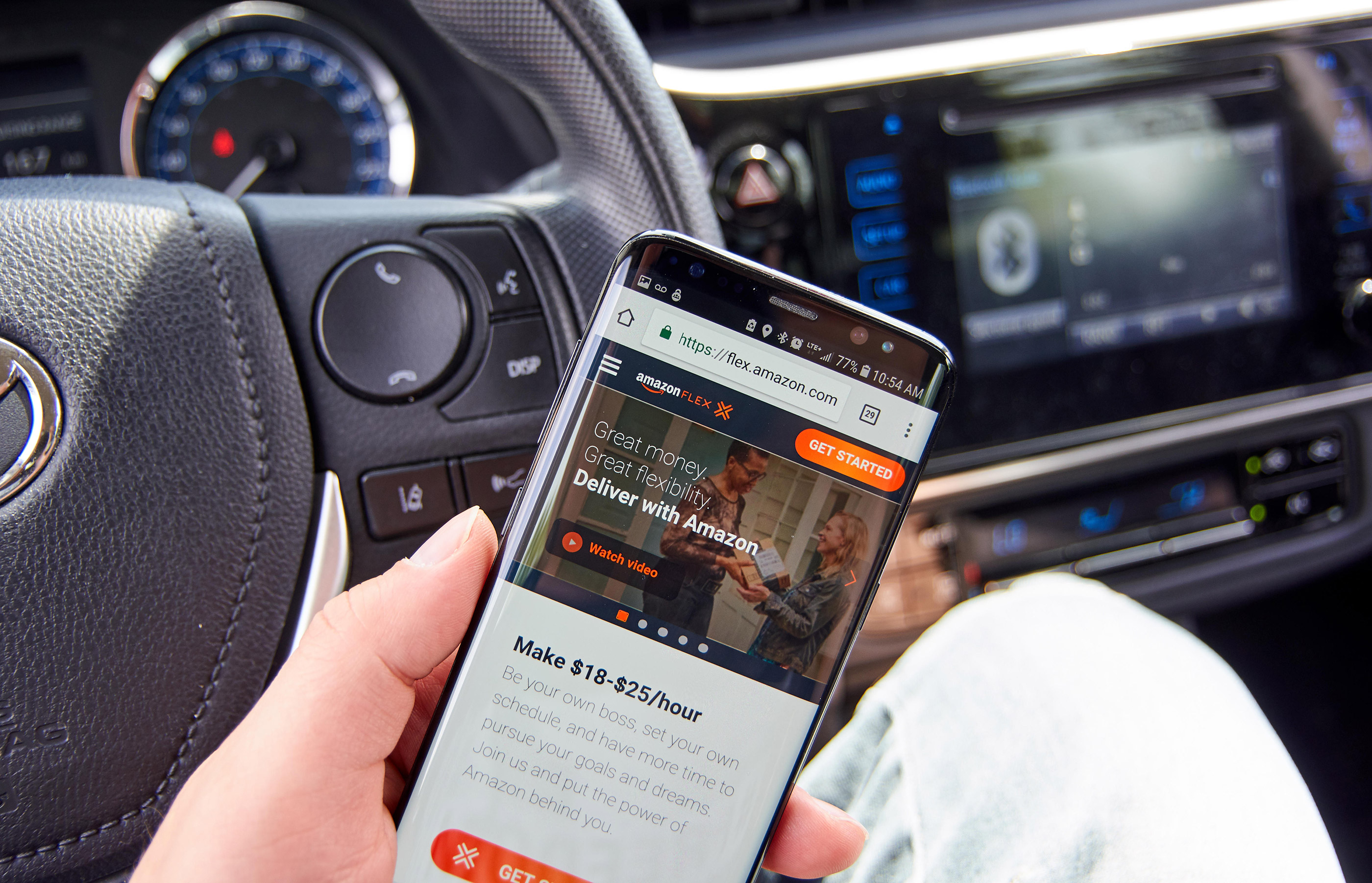 Amazon Flex - Deliver with Amazon on Samsung s8 screen