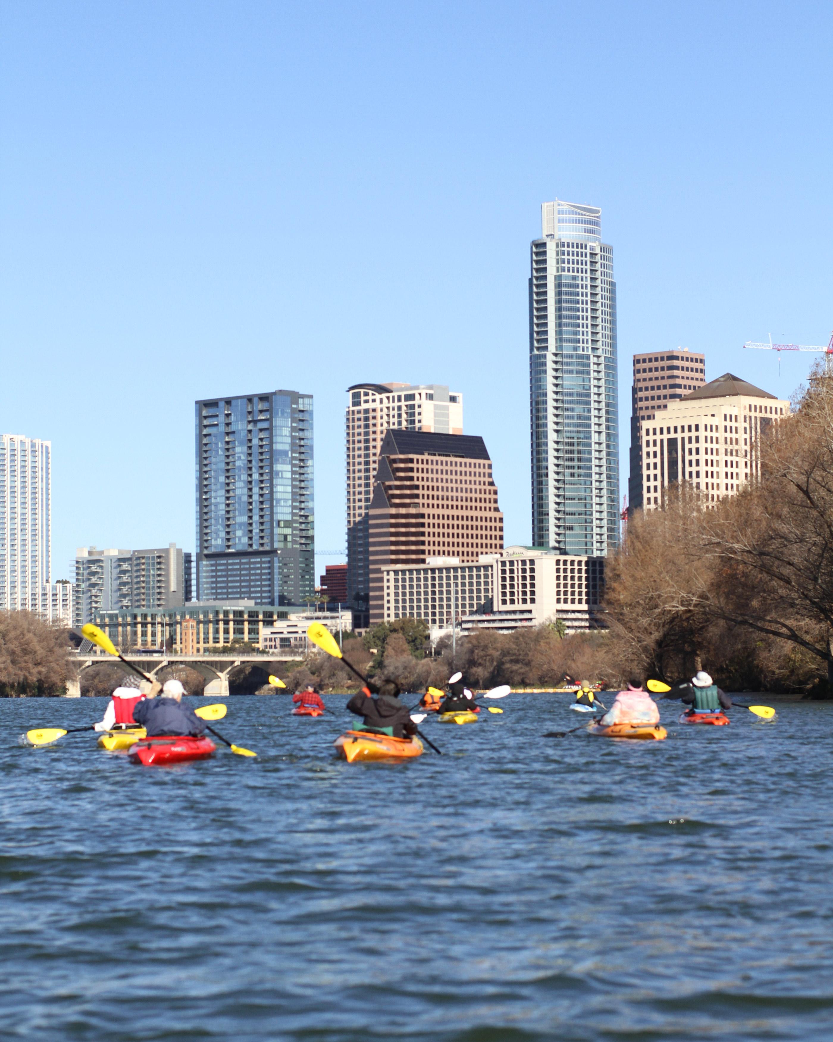 Adult kayaking in Austin