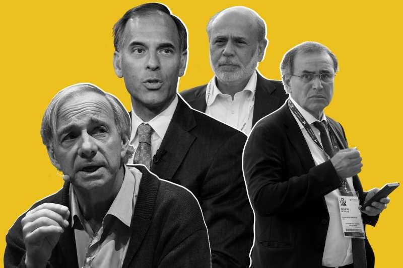 (L-R) Ray Dalio; Mark Zandi; Ben Bernanke; Nouriel Roubini