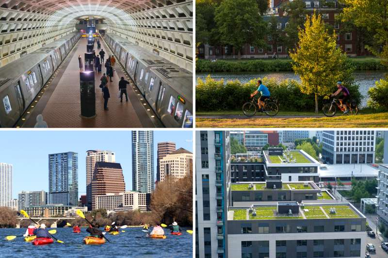 (Clockwise from top left) Washington, D.C.; Cambridge, Massachusetts; Portland, Oregon; Austin, Texas