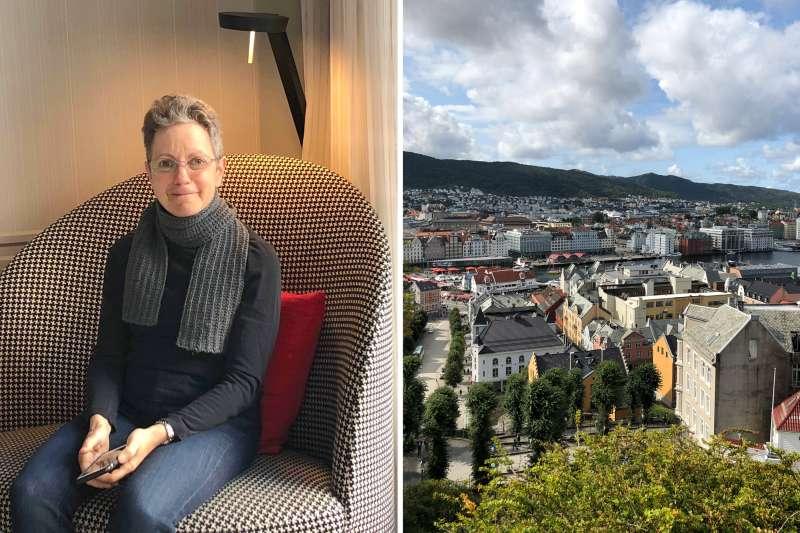 (left) Lisa Phillips in her favorite houndstooth chair at Hotel Bergen Bors in Bergen; (right) View of Bergen