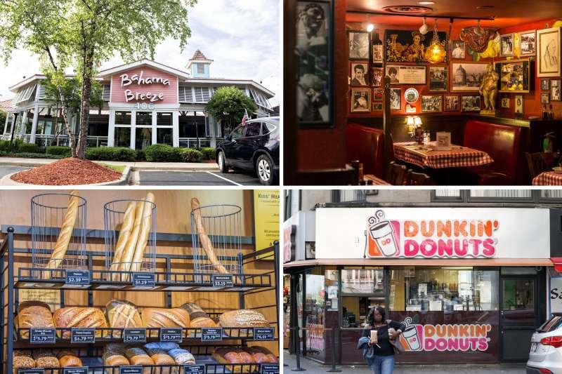 (clockwise from top left) Bahama Breeze; Buca di Beppo; Dunkin' Donuts; Panera Bread