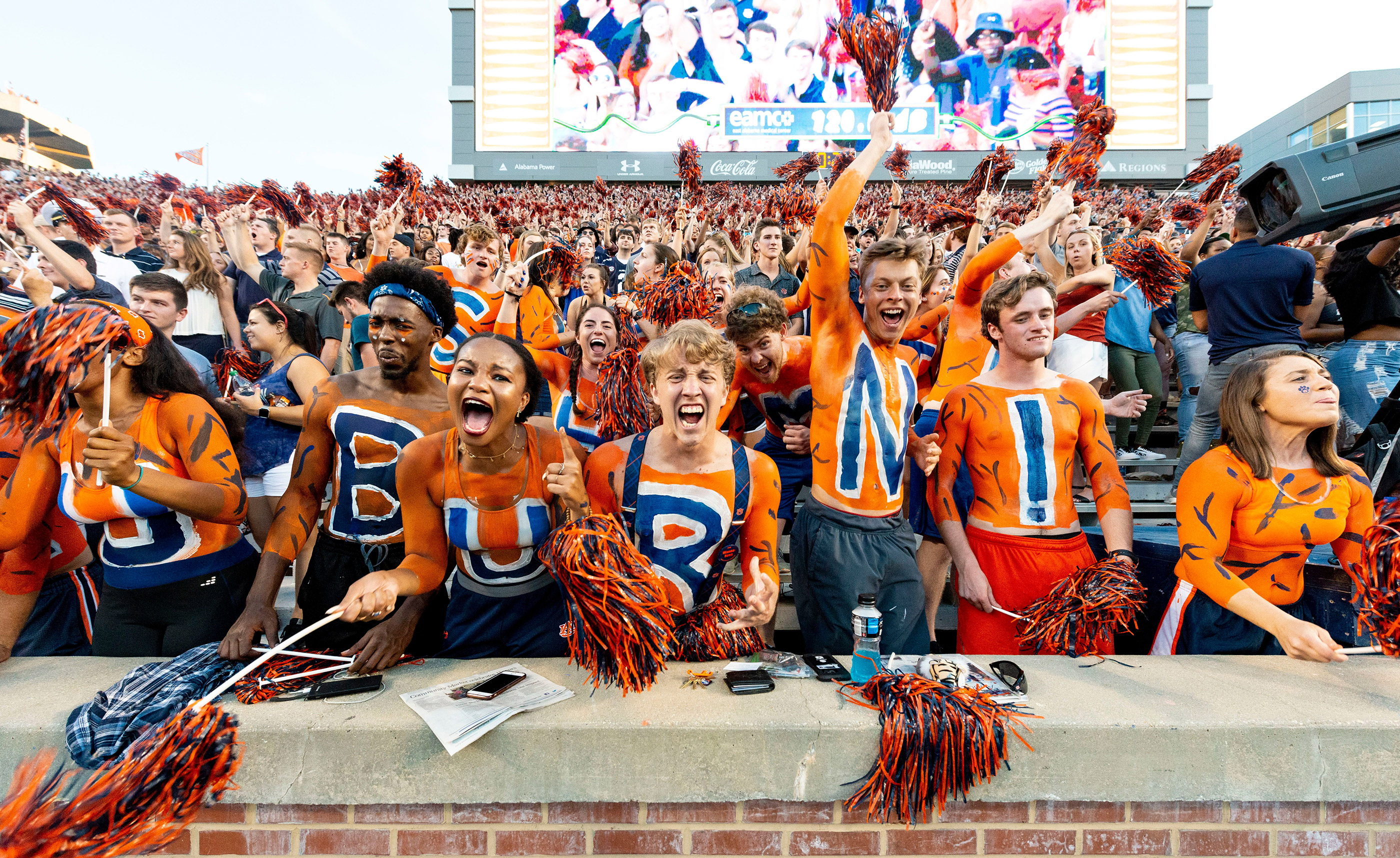 Auburn fans cheer at the opening kick of the team's NCAA college football game against Alabama State, in Auburn, Ala., September 8, 2018.