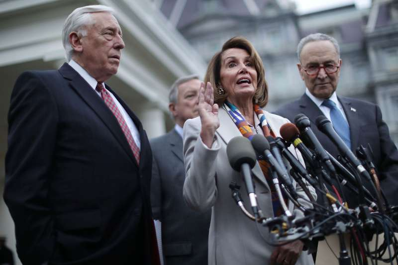 (L-R) House Minority Whip Steny Hoyer (D-MD), Senate Minority Whip Richard Durbin (D-IL), House Speaker designate Nancy Pelosi (D-CA) and Senate Minority Leader Charles Schumer (D-NY) talk to journalists following a meeting with U.S. President Donald Trump, Homeland Security Secretary Kirstjen Nielsen and fellow members of Congress about border security at the White House January 02, 2019 in Washington, DC.