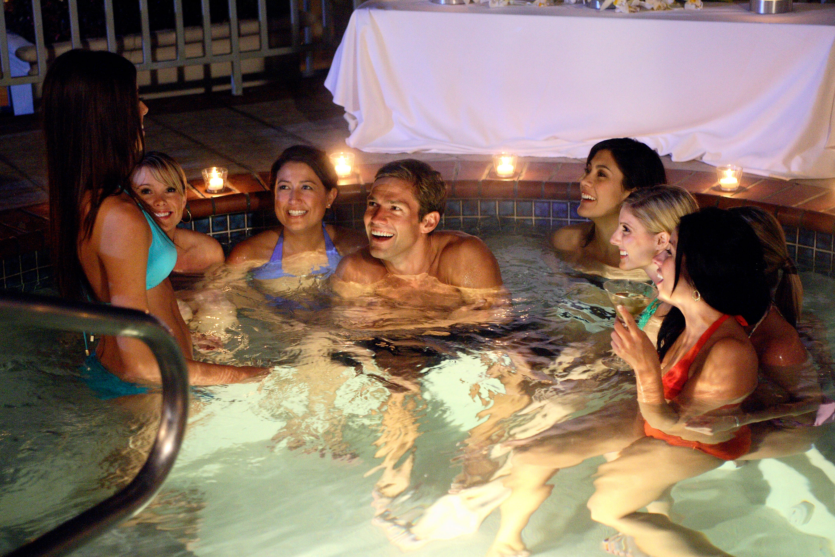 "THE BACHELOR: OFFICER AND A GENTLEMAN - ""Episode 1002"" - As 15 bachelorettes settle into a mansion in the Hollywood Hills, the fairy tale begins. On his first group date, Andy and seven striking ladies take the Sunset Strip by storm with an evening of cocktails and bull riding that ends in the hot tub. Bevin can't handle the competition, becoming irritated, and seethes over perceived slights. Then one lucky bachelorette is singled out to spend a romantic evening aboard the Bachelor's private yacht, on ""The Bachelor: Officer and a Gentleman,"" MONDAY, APRIL 9 (9:30-11:00 p.m., ET), on the ABC Television Network."