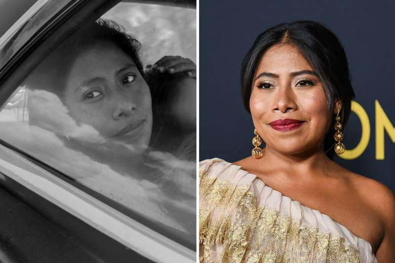 (left) Yalitza Aparicio as Cleo in 'Roma,' written and directed by Alfonso Cuarón; (right) Yalitza Aparicio attends Los Angeles premiere of 'Roma' at American Cinematheque's Egyptian Theatre on December 10, 2018 in Hollywood, California.