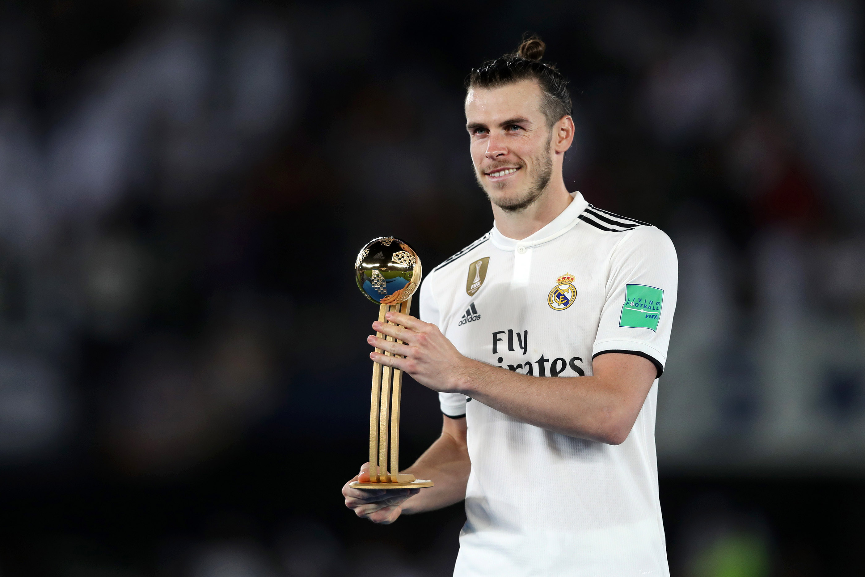 Gareth Bale of Real Madrid poses with his Adidas Golden Ball award after the FIFA Club World Cup UAE 2018 Final between Al Ain and Real Madrid at the Zayed Sports City Stadium on December 22, 2018 in Abu Dhabi, United Arab Emirates.